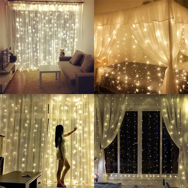 3M 3M 300 LED Sıcak Beyaz Işık Romantik Noel Düğün Açık Dekorasyon Perde Dize Işık ABD Standart Beyaz Isınma x