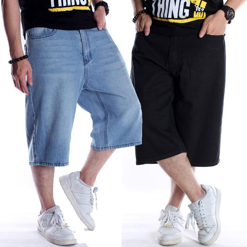 Couleur: Black Light Blue Jeans Hommes 2020 New Hip-Hop Denim Shorts Pantalons Pantacourt Loose hommes de grande taille 30-44 46