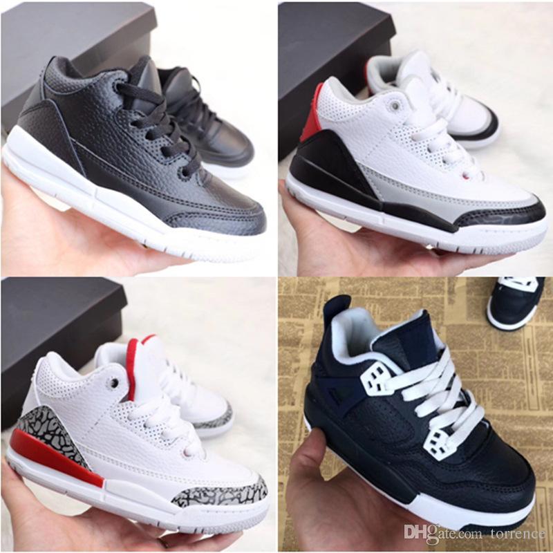 chaussures de basket enfants Enfants Jeunesse 3s Quai 54 Tinker Fire Rouge Blanc Noir Ciment Fire Red Sports baskets garçon fille Taille 28-35