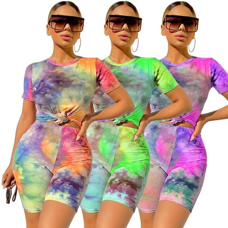 Женщины Tracksuit 2Pcs Set Summer Tie Dye Йога Набор с коротким рукавом Crop Tops + Bodycon Шорты Активных Wear нарядов Моды Женских наборов