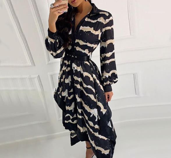 Camisa asimétrica vestidos de diseñador de las mujeres ropa de estilo del diseñador de moda del modelo de vestidos de onda Impreso de manga larga