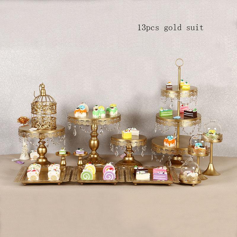 1SET الذهب كعكة بيضاء يقف مجموعة جولة المعدنية كريستال كب كيك حلويات عرض الركيزة حفل زفاف العرض