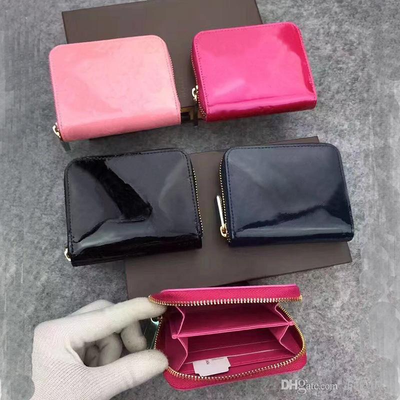 الجملة براءات الاختراع والجلود محفظة قصيرة أزياء ذات جودة عالية حامل البطاقة الجلود تسلق عملة محفظة المرأة محفظة جيب سحاب الكلاسيكية