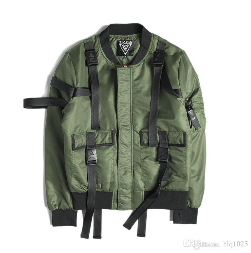 Outono de moda masculina e jaqueta de inverno High Street Dark Strap Piloto Punk Rock Jacket Jacket Casual dos homens