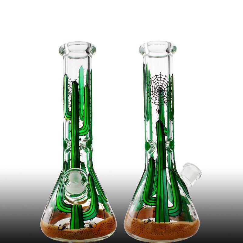 Cactus Logo Bong in vetro Dab Rig Becher Bong con presa di ghiaccio 7 MM di spessore Ass Grande tubo Beaker Base tubo di acqua