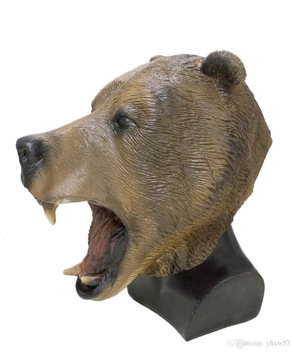 Realistic Grizzly Bear Head Mask Animal Latex Mask Halloween Costume for Adults