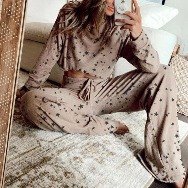 La signora 2020 nuove stelle stampa tuta casuale in due pezzi femminile di estate pantaloni a maniche lunghe a casa vestito