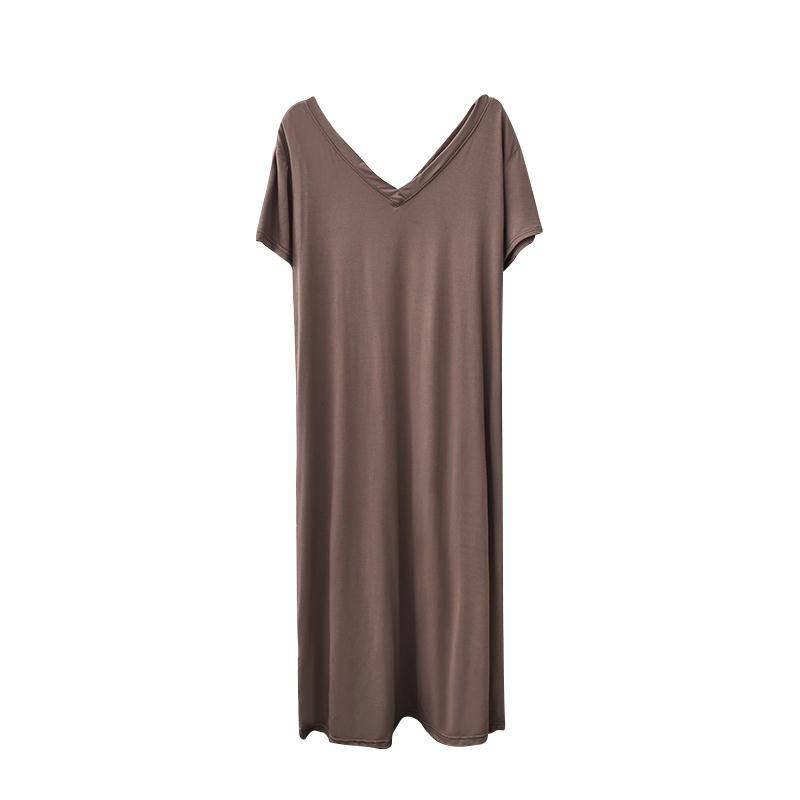 20200122 Fina perder modal longa da separação V-neck além de grandes dimensões vestido de manga curta