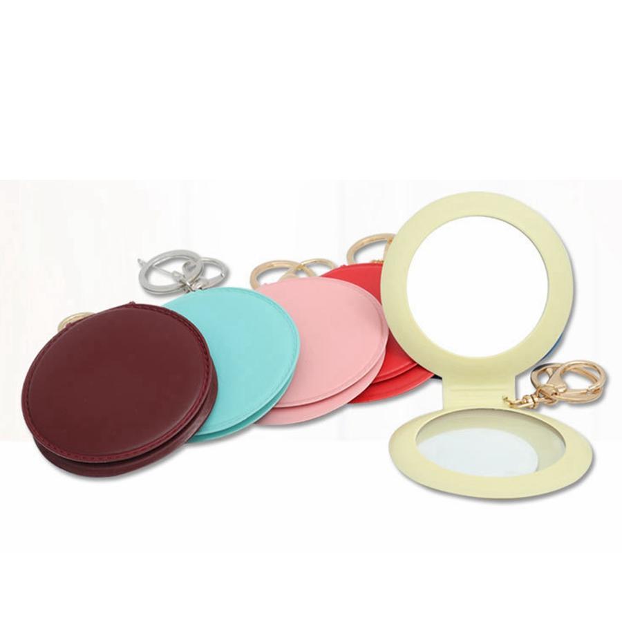 Leder Make-up Buckless Pocket Faltender Kreativkreis Mini Tragbare Spiegel Spiegel TTA2035-1 Kleine Runde Keychain doppelseitig FSLXT