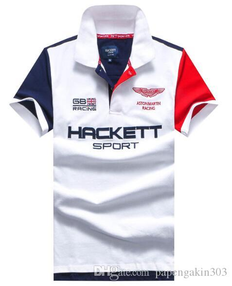 Hackett Hommes Sport Polo 2019 Homme manches courtes Angleterre London Fashion britannique T-shirts nautica Casual hommes HKT T-shirts Racing Polos Blanc