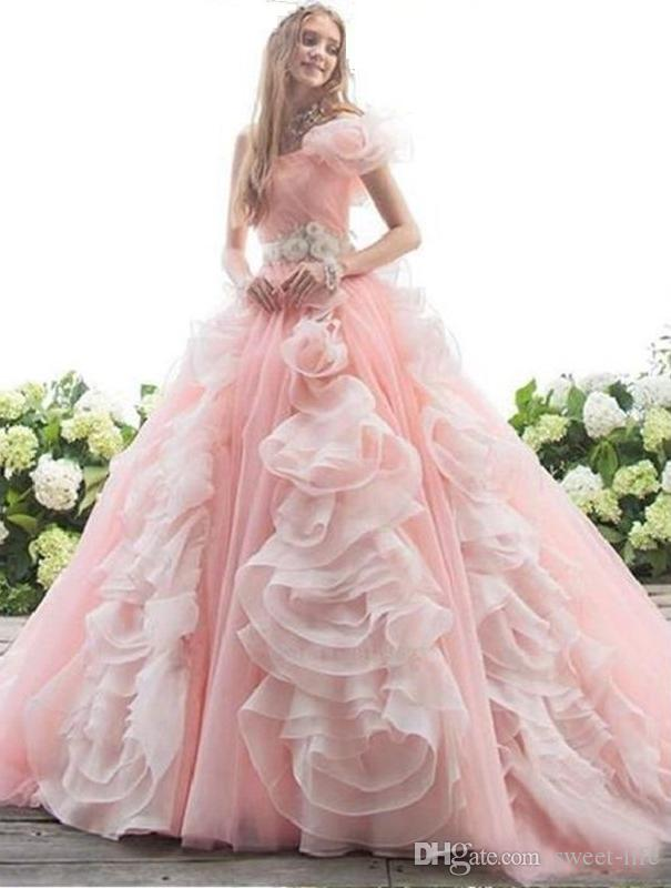 Vintage Sweetheart Pink Quinceanera Dresses 2020 Ball Gown Tulle Pageant Dress Sweet 16 Custom Made Prom Dress Maxi Gown One Shoulder