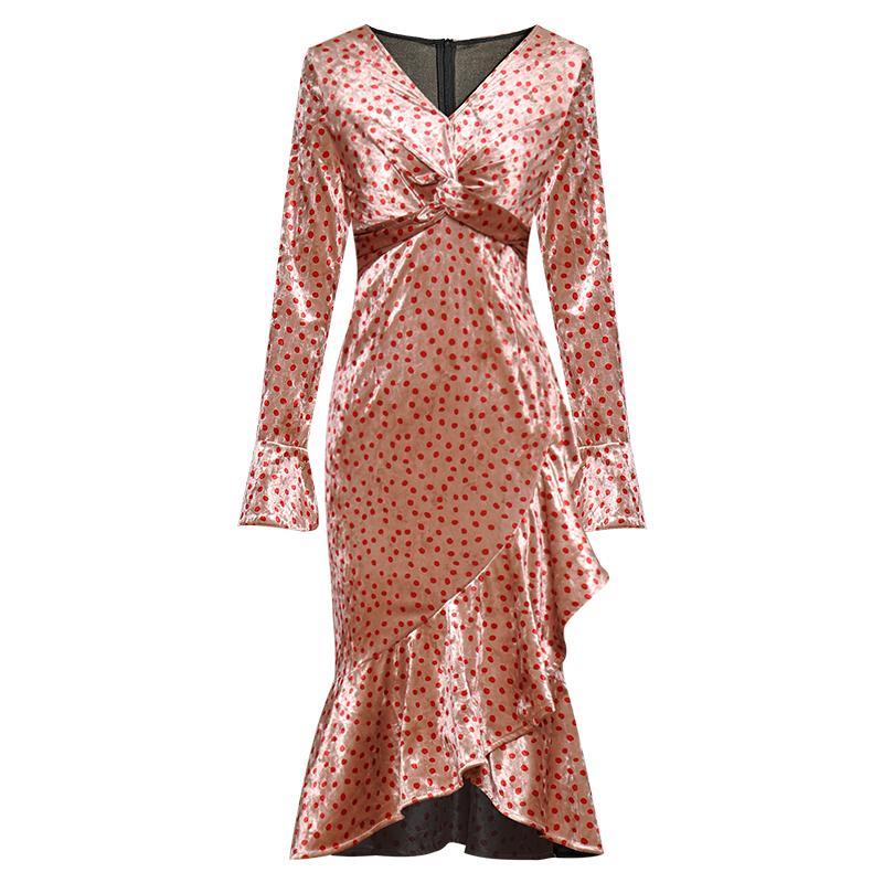 2019 осень розовый горошек печати бисером рябить длиной до колен с длинным рукавом V шеи мода взлетно-посадочной полосы платья Vestidos 9N8YDY9D