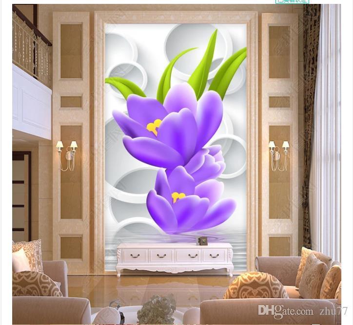 3d papel de parede personalizado foto silk mural papel de parede flor de água 3d hall de entrada estéreo mural fundo adesivo de parede papel de parede