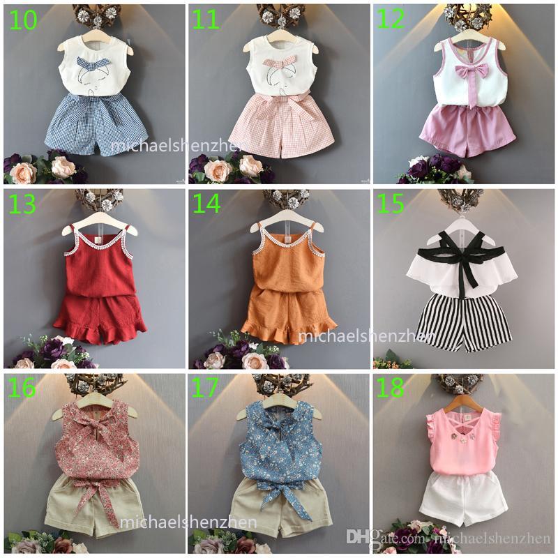 30 estilos bebé de la manera chicas INS crea camiseta de la historieta + faldas 2019 nuevos niños del verano o pantalones cortos 2pcs de los cabritos ropa B001