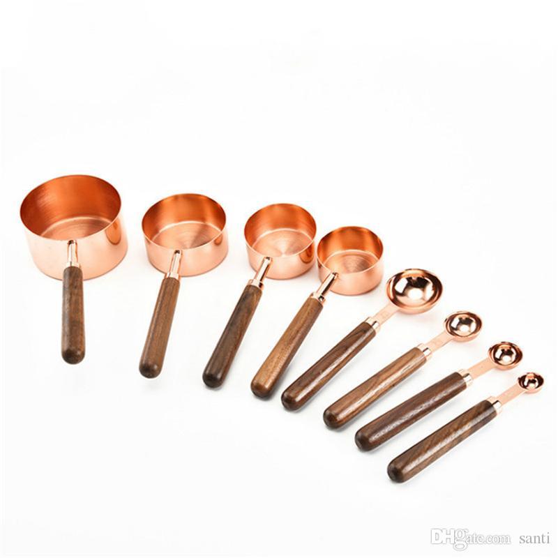 로즈 골드 스테인레스 스틸 액체 드라이 성분에 대한 측정 도구를 요리 주방 컵과 숟가락을 측정하는 JK2001