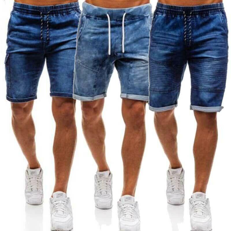 Mens Denim Chino Shorts super stretch Skinny Slim été demi-pantalon Cargo Jeans
