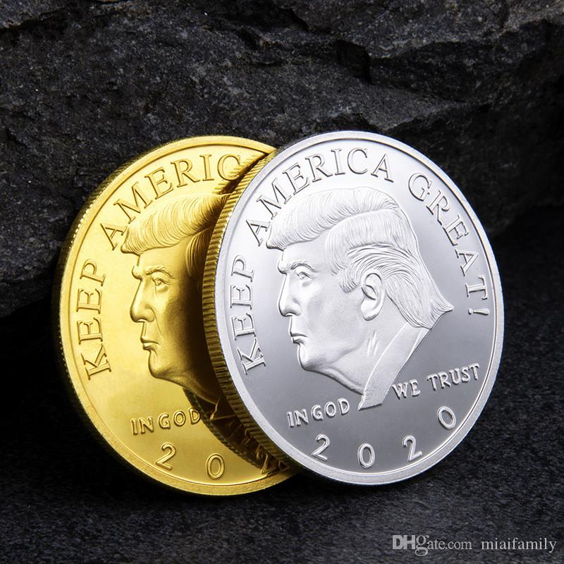 2020 Donald Trump Commemorative Coin American President Avatar Gold Coins Silver Badge Metal Craft Collection Republican Epacket