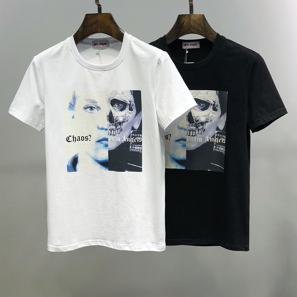 2020 Европейская мода Чистый цвет Короткие рукава футболки Man Корейское издание пассивом Youth Мужская одежда 11284