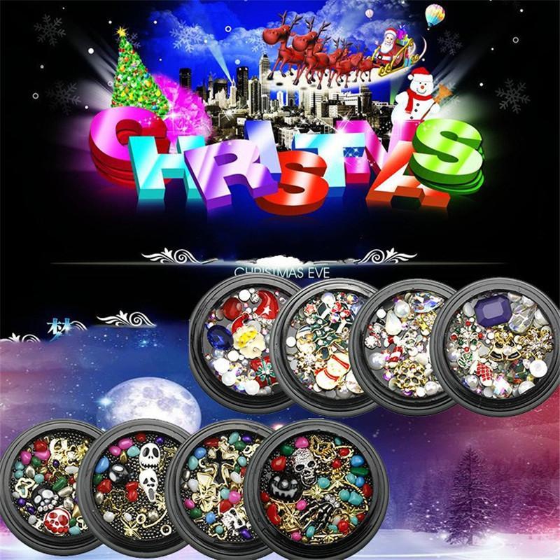 8 estilos de Navidad del Rhinestone joyería manicura Conjunto del copo de nieve de Santa multicolor 3D del clavo del arte del taladro Decoraciones