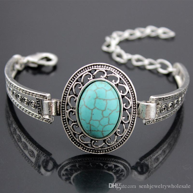 LOT 12pcs Tibetan Vintage Silver Retro Hollow Alloy Design Oval Turquoise Bracelets Alloy watch bands Natural stone bangles gifts MB163