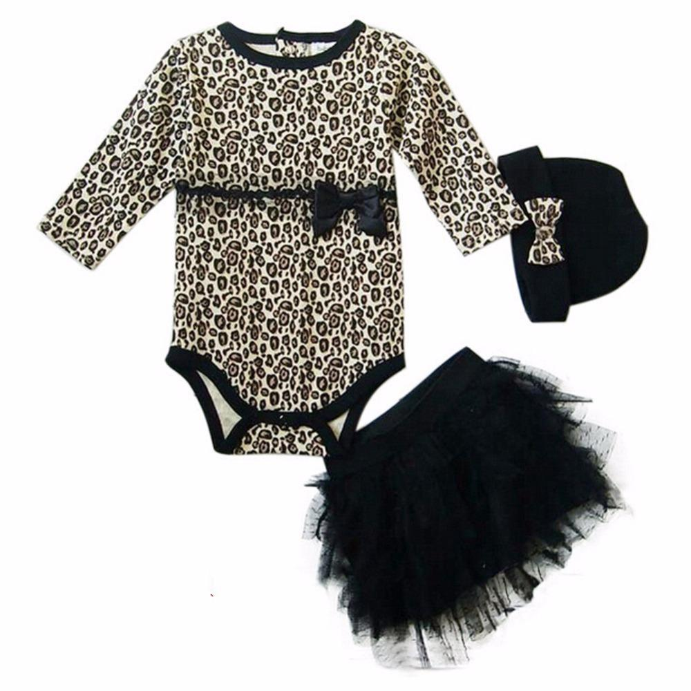 Leopard Baby Girl Clothes 3 Pc Sets: Spring Long Sleeve Cute Suit Rompers + Tutu Skirt +headband(hat) Kids Girls Clothing J190520