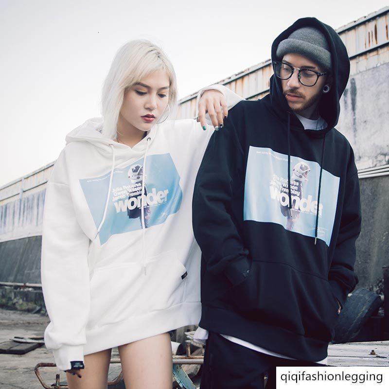 Moda maglione chic incappucciati di sesso maschile adolescente bf abito stile paio allentato grande modo di formato ulzzang femminile cappotto