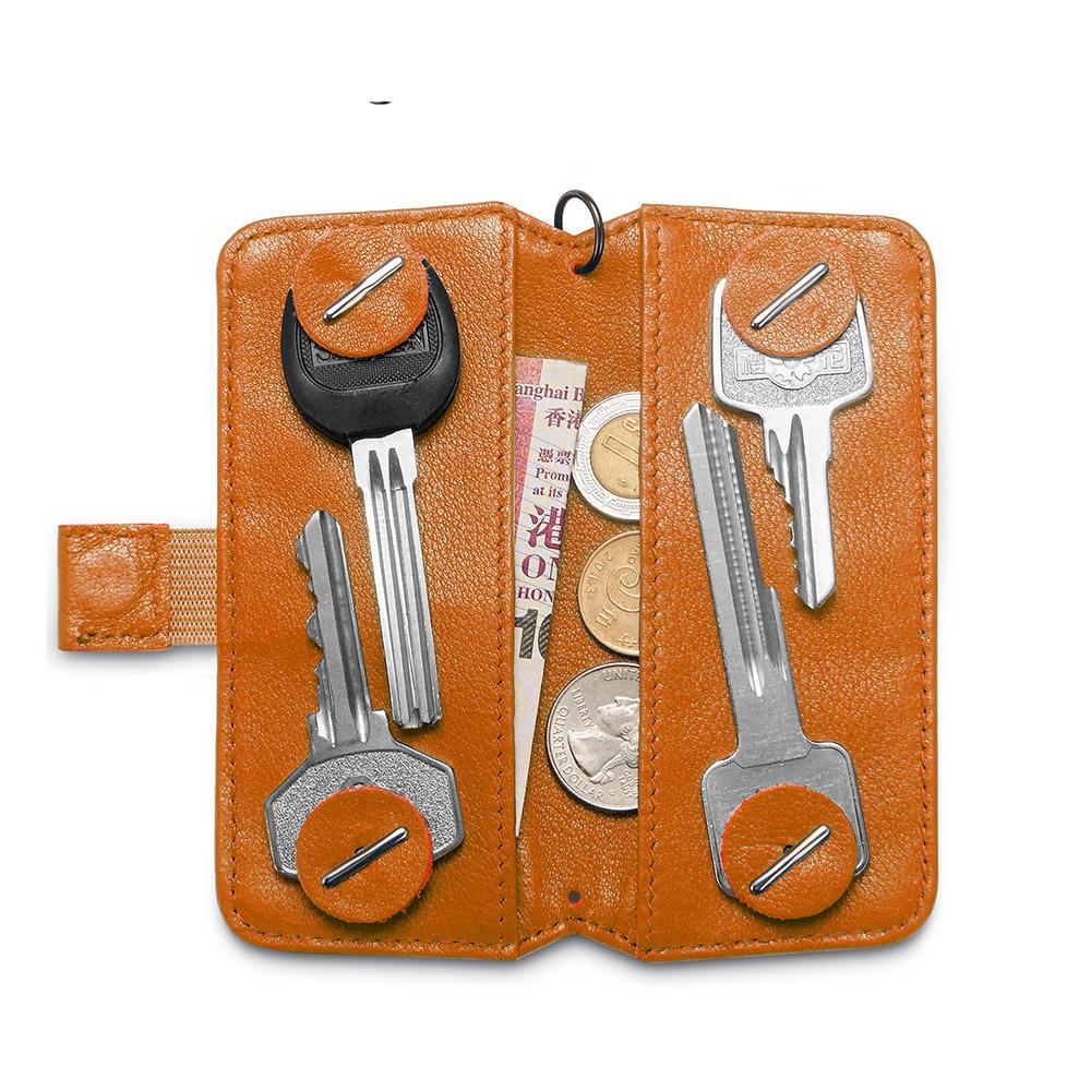 Genuine Leather Elegant Key holder Housekeeper Women Key Organizer Men Smart Key Wallet DIY Keychain EDC With Gift Box