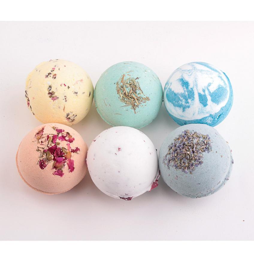 1pc 6 odori rosa / tè verde / lavanda / limone / latte bagno di mare profondo sale corpo olio essenziale palla da bagno naturale bolla bombe da bagno palla AU9 D19011201