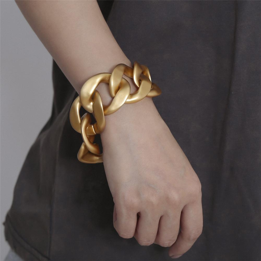 Hip Hop Trendsetter Women Bracelets European and American Fashion Accessories Matte Light Golden Big Size Chain Bracelet FJ096