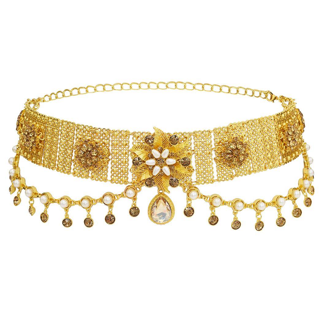Magazzino degli Stati Uniti di stile dell'oro lega d'argento del fiore di farfalla dei monili delle signore Forma Vita catena di danza del ventre con strass Vita catena pendente