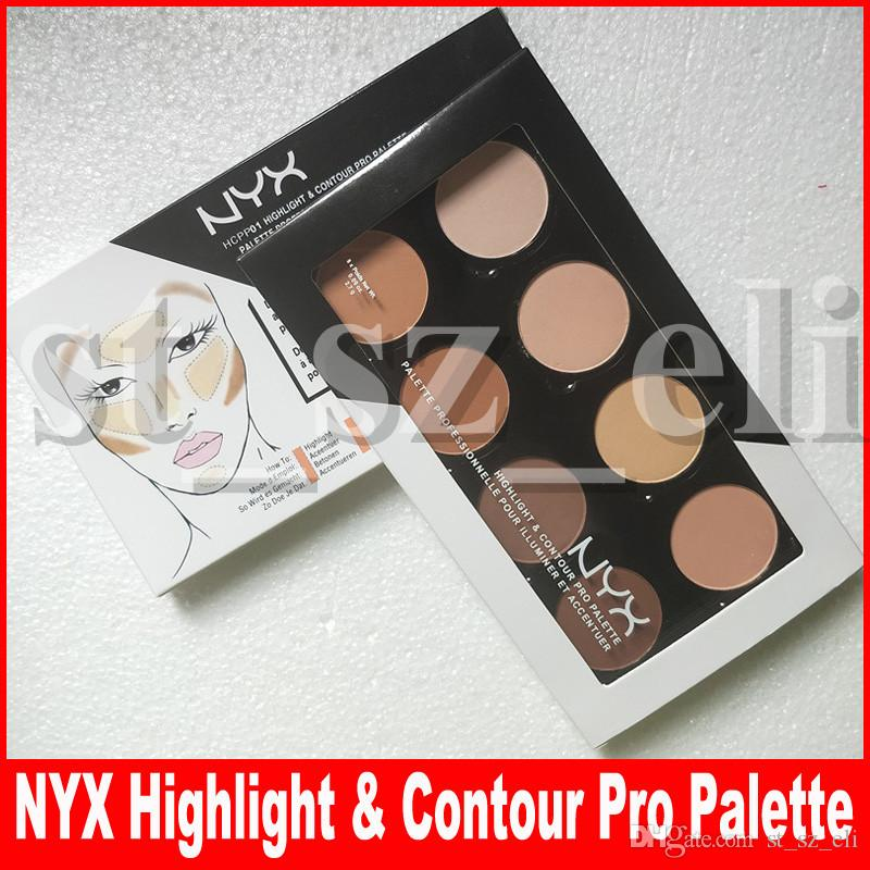 Face Makeup NYX Highlighter & Contour 8 shades Face Powder Palette Foundation Concealer Contour Kit free shipping