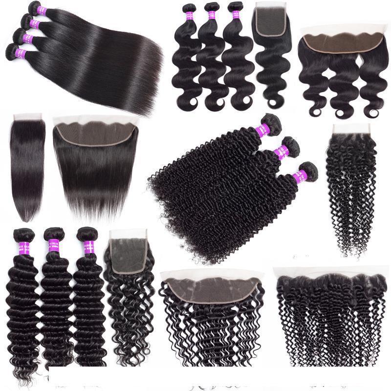 9А Бразильская Дешевые человеческих волос Weave Связки с закрытием Deep Wave Kinky завитые выдвижения волос девственницы Пучки волос с 13x4 Lace фронтального