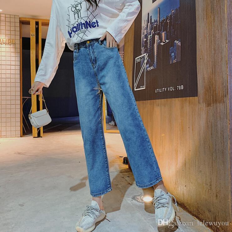 Compre Nueva Talle Alto Holgada Cubrio Los Pantalones Vaqueros Elegantes Para El Ajuste Delgado De La Mujer Y De La Pierna De 9 Puntos Pantalones De Tubo Recto De Ancho A 20 5