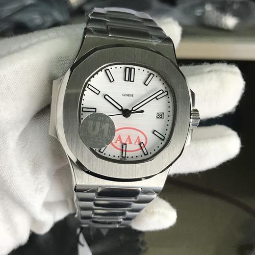 Caliente la venta de la fábrica del reloj para hombre U1 Nautiluss Movimiento grabado PP esfera blanca mecánico automático de acero inoxidable parte posterior transparente relojes de los hombres