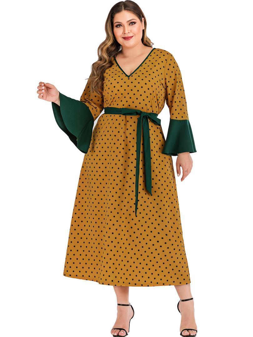 Damas de gran tamaño del vestido de la manera Nuevo 2019 de gran tamaño Lunares amarillos Imprimir vestido con cuello en V Casual manga de la llamarada del cordón flojo