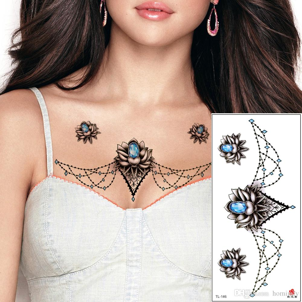 Imagens De Tatuagens Peito Jóias Pingente Tatuagens Temporárias Por Mulheres Esterno Cintura Waterproof Blue Diamond Necklce Flower Tattoo Adesivos