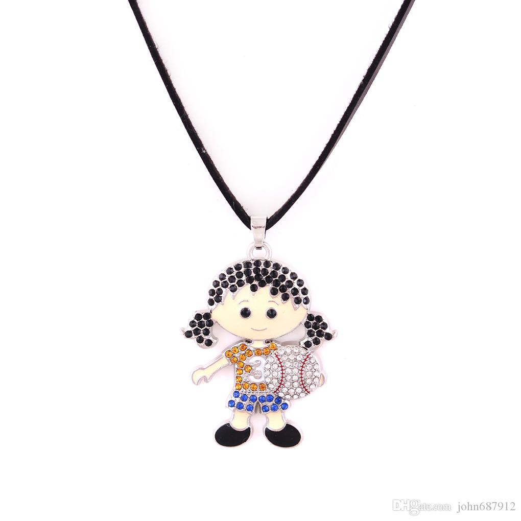 Huilin wholesale black leather necklaces and cute baseball girl with jewelry necklace with multicolor crstle jewerly pendant