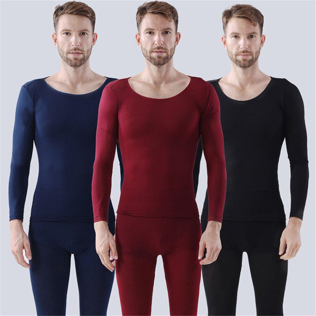 Sans couture élastique thermique-vêtement thermique Sous-vêtements pour homme Solide Couleur Réchauffez respirant haute qualité caleçon long Sous-vêtements