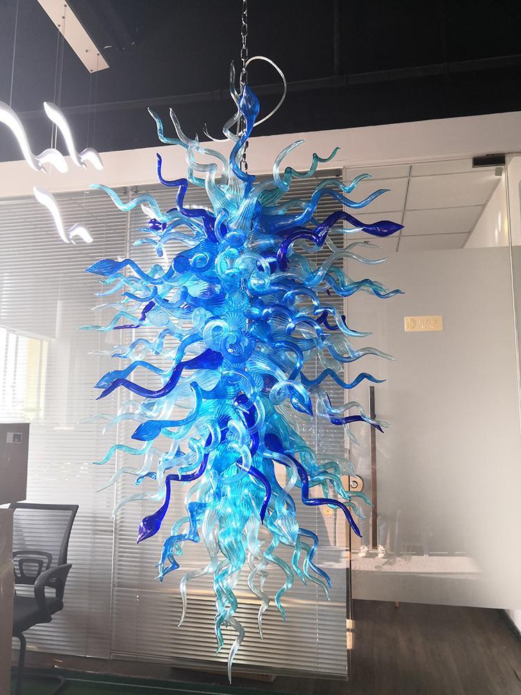 European Style Kronleuchter Blaue Farbe Wohnzimmer Einfach Restaurant Study Room Glas Kronleuchter und Pendelleuchten