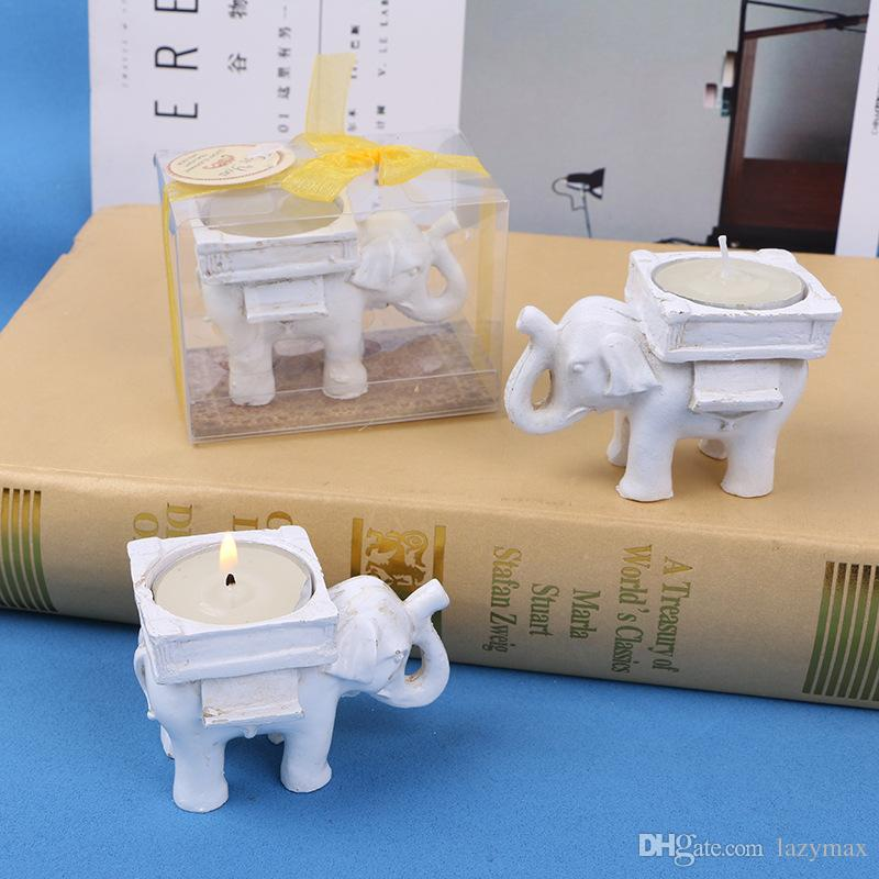 Wedding Favors Lucky Elephant Candlestick Resin Candle Holder European Style Home Desktop Decoration Party Souvenir Gifts 5 Pieces ePacket