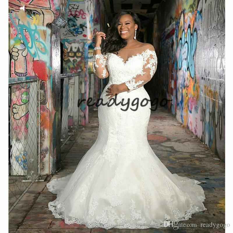 2019 New Arrival Long Sleeves Plus Size Mermaid Wedding Dress V Neck Lace  Appliques African Wedding Gowns Custom Made Wedding Gown Mermaid Wedding ...