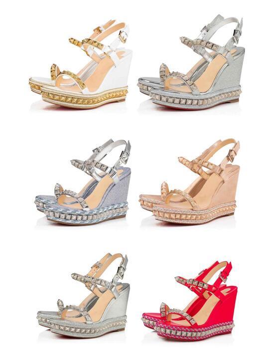 Verão Marca parte inferior vermelha Salto Pyraclou Cataclou platfrom Alpercatas Senhora Cunhas Sandals com tira no tornozelo alta Studs Sexy Mulheres Gladiator Sandal