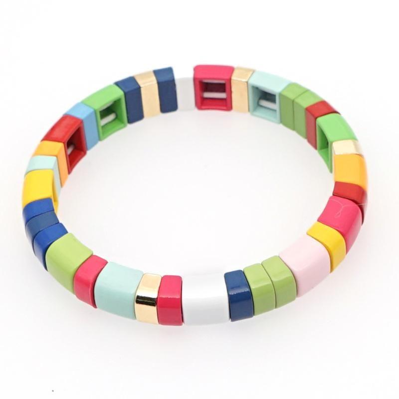 Carrelage émail Bracelet Colorful rainbow Tila Perles Bracelets pour Femmes Hommes Color Block Bracelets élastiques Bangle