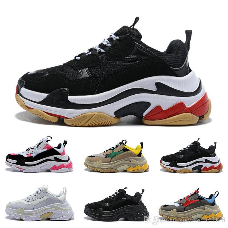 Vente récent Paris 17FW Chaussures de sport triple pour les hommes vert blanc rouge noir femmes Casual papa Chaussures de chaussures de luxe de plus en plus de tennis 36-45