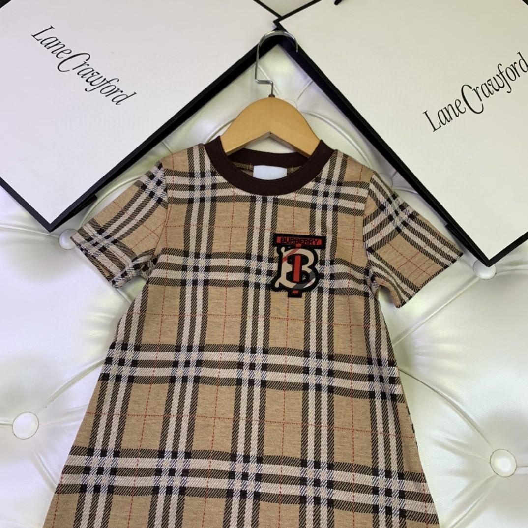 Yuvarlak yaka Kısa Kollu Ekose Elbise örme pamuk malzeme kaliteli gündelik elbise 030.919