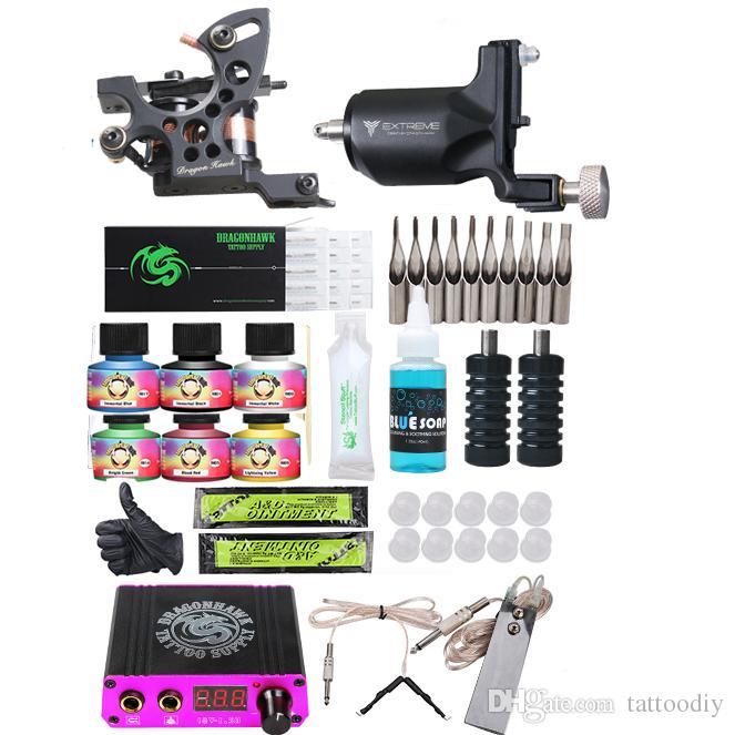 Tattoo Kit Coil Machine + Rotationsmaschine Mini Stromversorgung Unsterbliche Tinten Einwegnadeln Tipps professionelle Tattoo-Versorgung