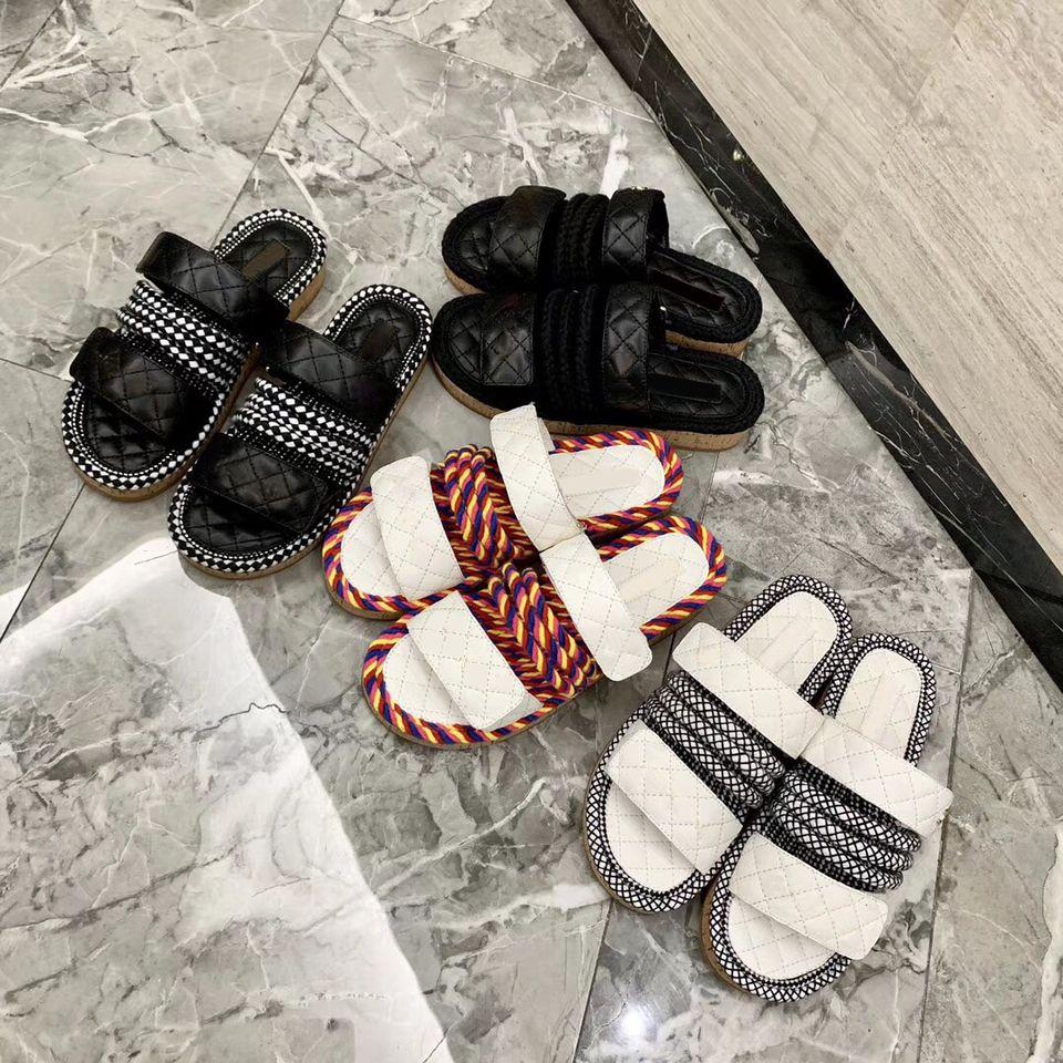 Las mujeres planas de los deslizadores de la cuerda al aire libre de cuero de lujo zapatillas tacón grueso desgastes multicolor de la manera flip-flop de las mujeres del verano Daily Zapatillas