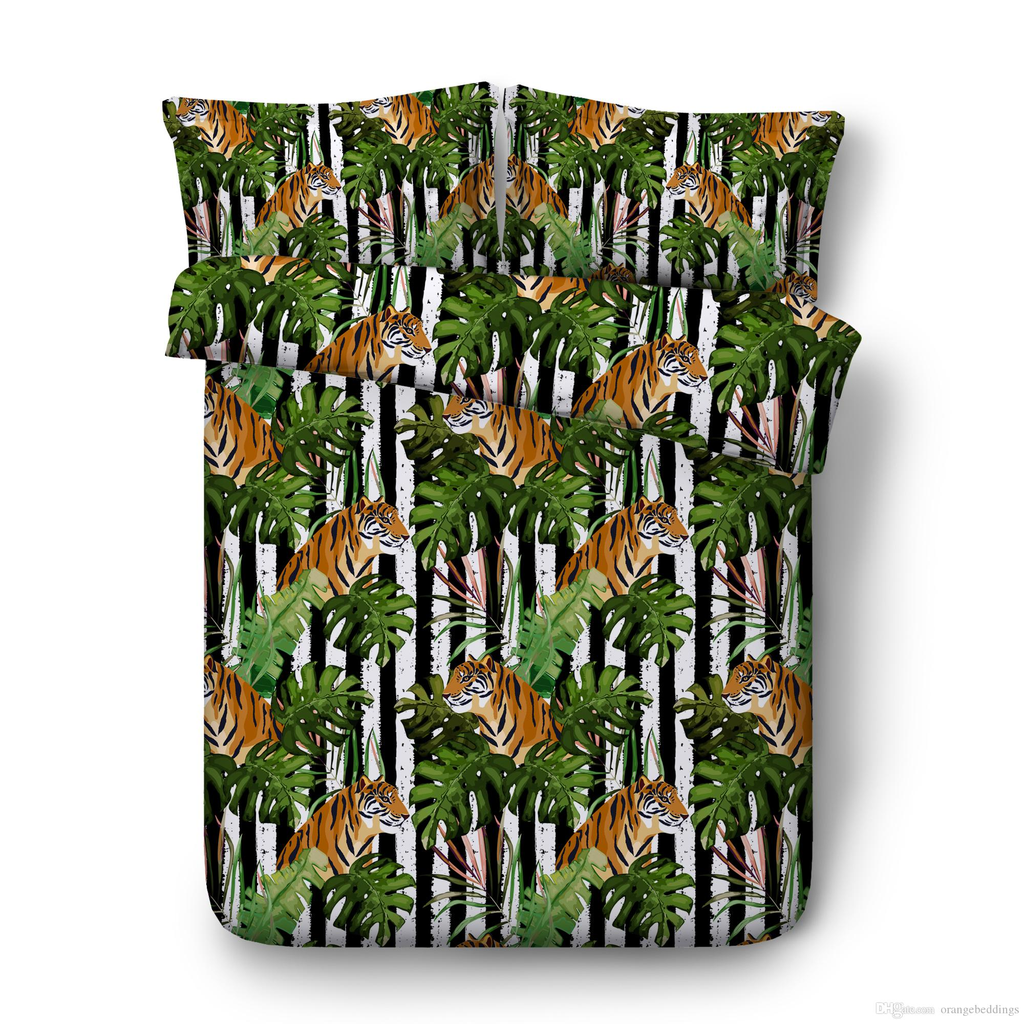 3D Tiger Print Bedding For Teens Boys Kids Girls Teens 3 Piece 2 Pillow Shams 1 Duvet Cover Home Textile Polyester Cotton No Comforter