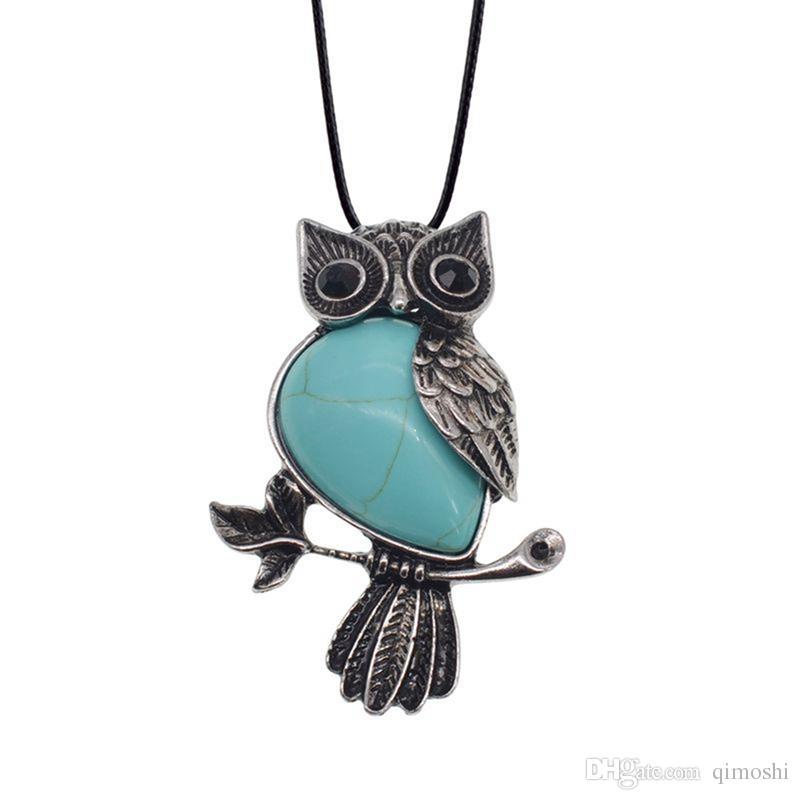 "Colar de pingente de colar de pingente de cura de coruja das mulheres espiritual Gemstone colar - 19 ""12pcs"