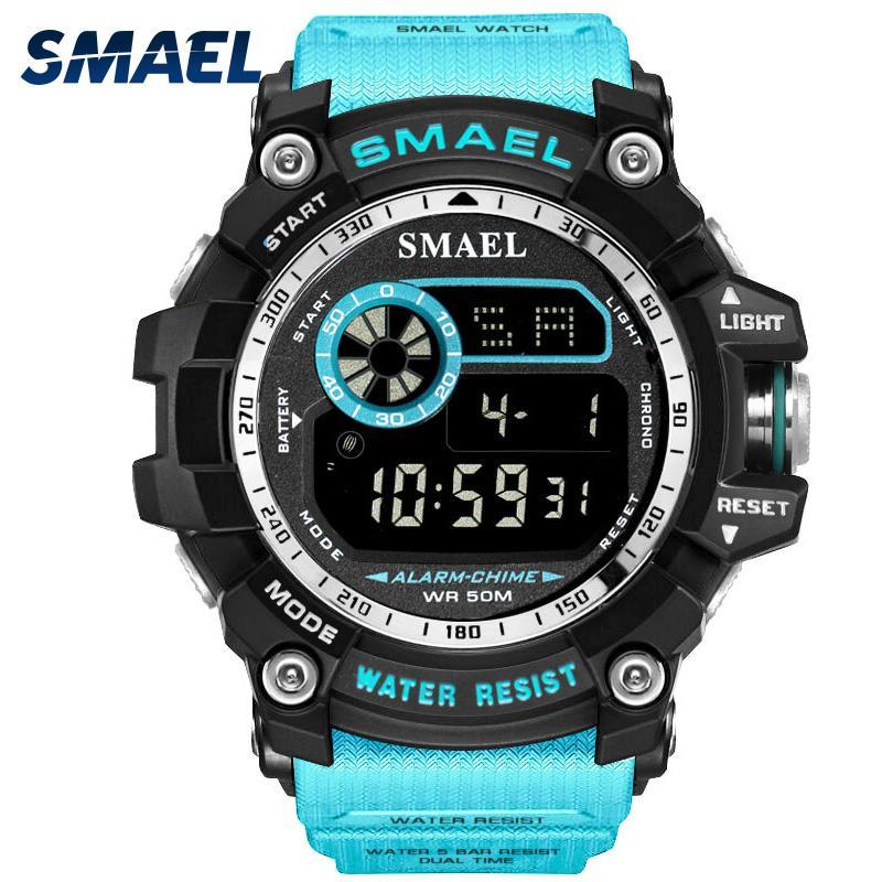 Großhandel Digitaluhr Männer großer Vorwahlknopf-Sport-Uhr Lauf 50M wasserdicht LED-Uhr-Digitaluhr Licht 8010 Mann-Digitaluhr-Sport